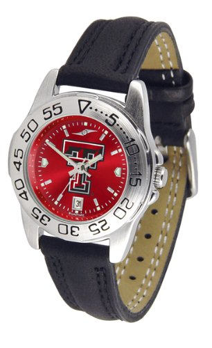 (NCAA Texas Tech Red Raiders Ladies Sport Leather AnoChrome Watch)