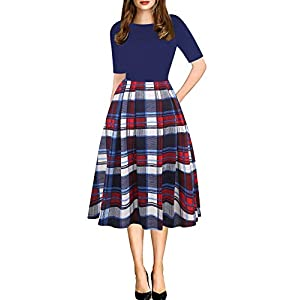 bbe1868f7 oxiuly Women s Vintage Patchwork Pockets Puffy Swing Casual Party Dress  OX165 ...