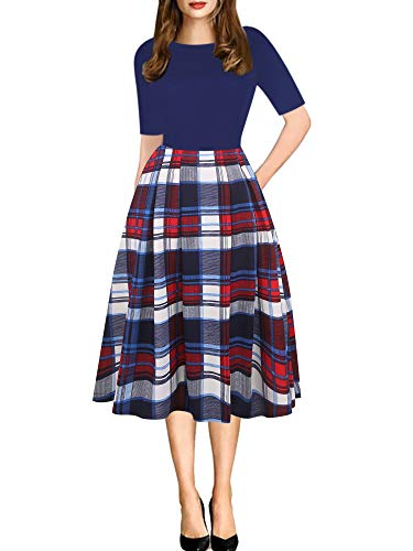 Wear Plaid Skirt - oxiuly Women's Vintage Navy Blue Plaid Patchwork Casual Pockets Party Cocktail A-Line Dress Dresses OX165 (M, Blue Plaid)