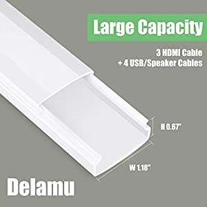 [2019 Upgrade] Cable Concealer, PVC Cord Cover, 94.5in Paintable Cord Hider to Hide Wires for TV & Computers in Home Office 6X L15.75in W1.18in H0.67in, White CC02
