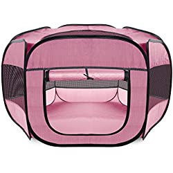 "48"" Pink Pet Dog Cat Playpen Tent Portable Exercise Fence Kennel Cage Soft Crate"