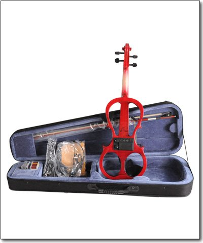 Aileen 4/4 RED Electric Violin VE008B + FOAMED CASE + BOW + HEADPHONE + ROSIN