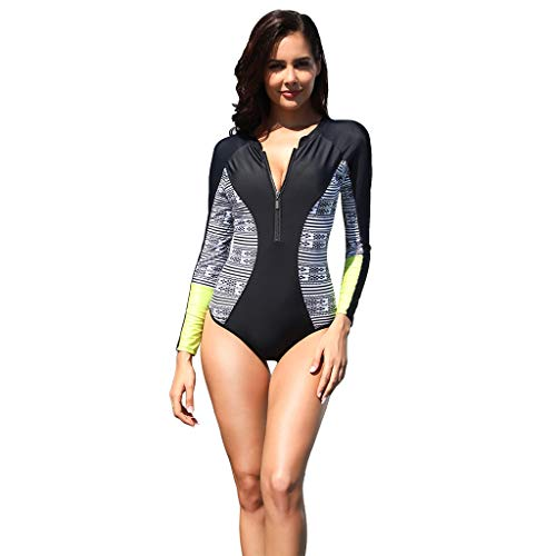 Women Sexy One Piece Rash Guard, UPF50+ Zip Long Sleeve Sun Protection Swimsuit, Summer Beach Bathing Suit for Water Sports Diving Swimming