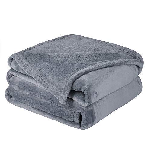 (WONTEX Flannel Fleece Throw Blanket Super Soft Lightweightfor Couch, Grey, 50 x 60 inch)