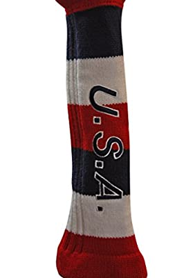 Majek USA Patriot Golf Club Fairway Wood Pom Pom Patriotic Knit Head Cover Headcover for Metal Woods from Majek
