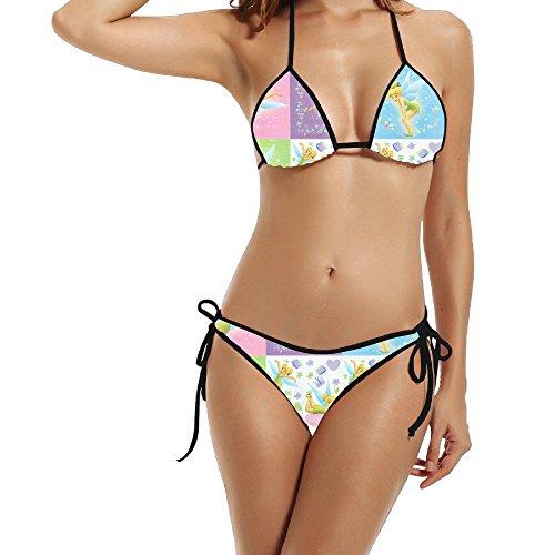 Womens Exclusive Design Two-Piece Tinkerbell Bikini Suit Nice Beach Swimwear (Tinkerbell Bathing Suit)