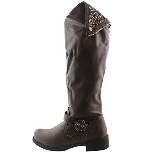 Schicker kniehoher Stiefel mit Strass in Khaki Damenschuhe mit Blockabsatz V1559
