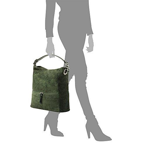 gamuza suave PELLE cuero ITALIANA Bolso Tacto Verde ITALY genuino Bolso Made hombro in Bolso Bolso Shopper piel VERDE 37x36x15 ARTEGIANI mujer auténtica mujer Shopper FIRENZE cm Color VERA AzqxwP1x