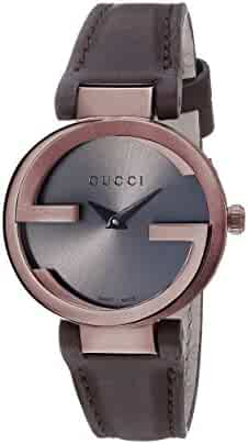 Gucci Swiss Quartz Stainless Steel and Leather Dress Brown Women's Watch(Model: YA133504)