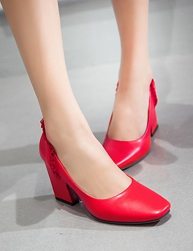 Eu37 Uk4 Ggx Rot 5-7 Zehe-schwarz White-us6 Cn37 Geschlossene 5-5 Weiß Damen-high Lässig-lackleder-blockabsatz-absätze Komfort Heels-büro