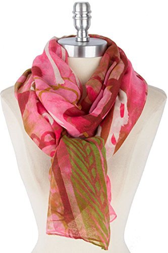 TRENDY FASHION JEWELRY GORGEOUS COLOR ETHNIC PRINT SCARF BY FASHION DESTINATION   (Pink)