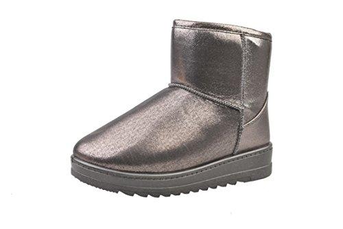 Women Plush School Winter Boots Pu Jeff Heel Shoes Snow Warm Ankle Boots Flat Waterproof Platform Leather Gray Tribble 8ZpwX