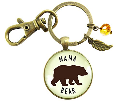 Mama Bear Keychain Rustic New Future Mom Saying Bronze Family Inspired Pendant Bear Jewelry For Women Gift by Gutsy Goodness