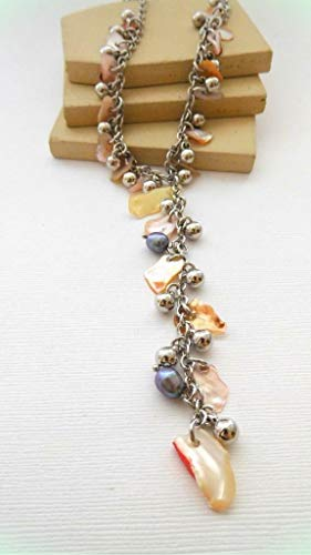 Iridescent Peach - Iridescent Peach Abalone Shell Chip Charm Gray Pearl Silver Lariat Necklace for Women JJ50
