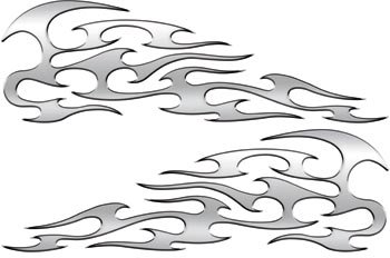 Full Color Reflective Silver Tribal Motorcycle Gas Tank Flame Decals