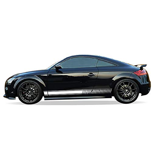 Bubbles Designs Decal Sticker Vinyl Side Racing Stripes Compatible with Audi TT RS TTS 2006-2014 (White)