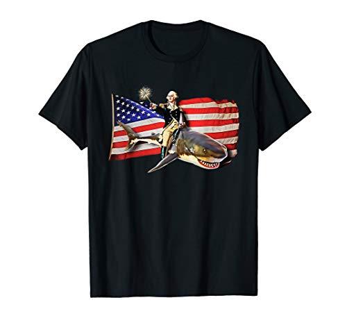 Washington Riding Shark T Shirt Funny July 4th American Flag -