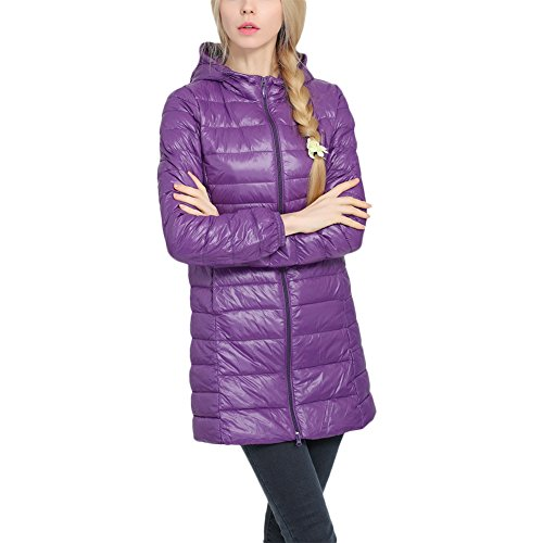 Aro Lora Women's Lightweight Packable Hooded Long Down Jacket Puffer Down Coats Purple