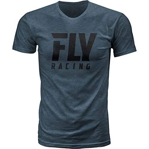Fly Racing Logo Short Sleeve Mens T-Shirts - Indigo - Large