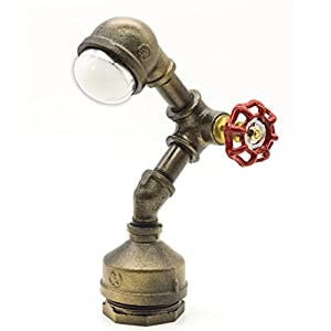 "Industrial Steampunk LED Desk Lamp, Iron Piping Loft Style Vintage Antique Light, Retro Desk Lamp, Y-Nut""Alfred"" Night Light LL-007-WW"
