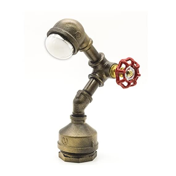 """Industrial Steampunk LED Desk Lamp, Iron Piping Loft Style Vintage Antique Light, Retro Desk Lamp, Y-Nut""""Alfred"""" Night Light LL-007-WW - 9.5'' height, 2 lb weight, 3W LED light (integrated LED light) Genuine malleable iron pipe and valve from Bundor Valve Factory Dedicatedly designed and handcrafted iron piping loft style vintage lamp - lamps, bedroom-decor, bedroom - 41asIc2UluL. SS570  -"""