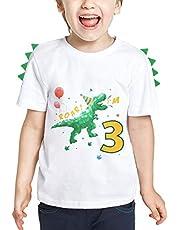 WAWSAM Dinosaur 3rd Birthday Shirt Boy 3 Year Old Toddler B-Day Dino Party T-Shirt Gift (White, 100, 3_Years)