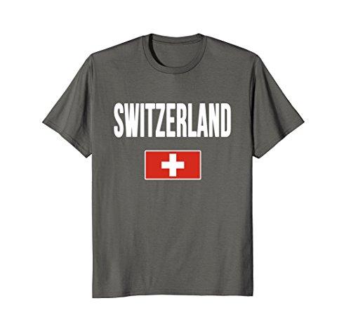 Switzerland Flag T-shirt (Mens Switzerland T-shirt Swiss Flag 2XL Asphalt)