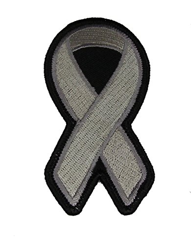 GREY RIBBON FOR MENTAL ILLNESS DIABETES BRAIN CANCER AND ASTHMA AWARENESS PATCH - Grey - Veteran Owned Business. -