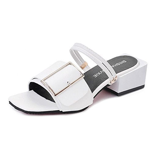 Sandalias Feifei Zapatos de Mujer Verano PU Material Vintage Casual 3 Color Opcional (con Alto: 4.5CM) (Color : Blanco, Tamaño : EU36/UK3.5/CN35) Blanco