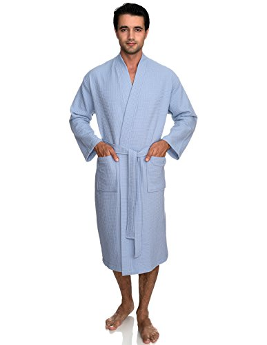 Cashmere Tub - TowelSelections Men's Robe, Kimono Waffle Spa Bathrobe X-Small/Small Cashmere Blue