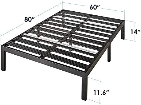 "Mellow Rocky Base E 14"" Platform Bed Heavy Duty Steel Black, w/ Patented Wide Steel Slats (No Box Spring Needed) - Queen"