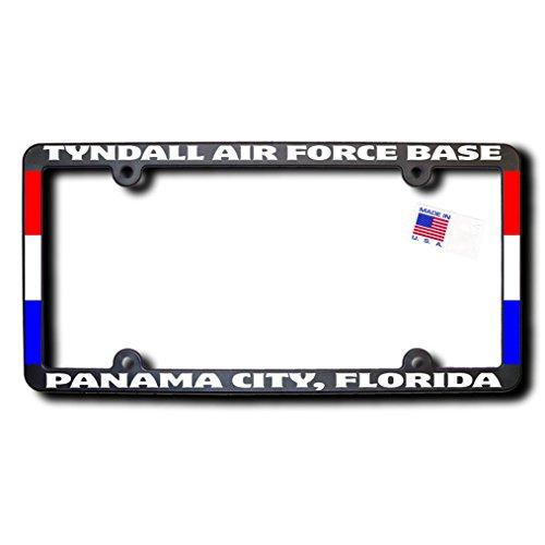 TYNDALL AIR FORCE BASE - PANAMA CITY, FLORIDA License Frame w/Reflective Text & Ribbons