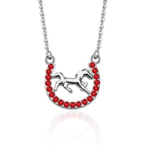POTIY Horseshoe Necklace Horse Mustang Pony Pendant for Western Cowboy Cowgirl Glittering Surface Lucky Charm Gift