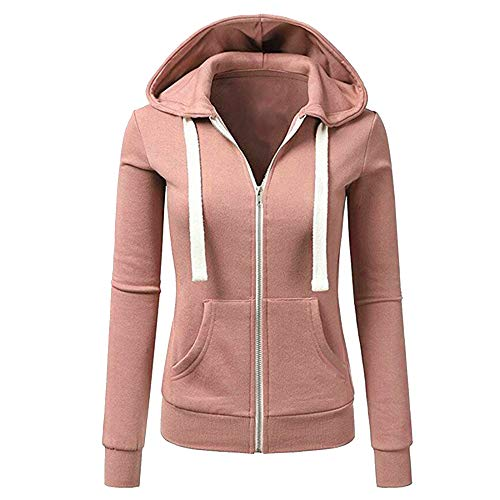 - Woaills-Tops 2018 New!!Casual Sport Coat,Women Ladies Long Sleeve Patchwork Solid Hooded Zipper Outwear (S, Pink)