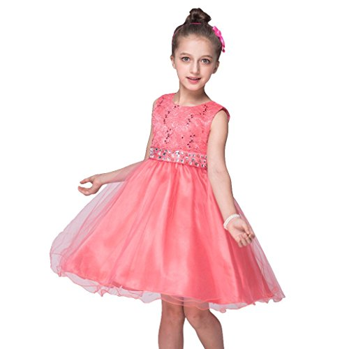 (DreamHigh Sequined Flower Girls Party Pegant Dress (6, Coral Red))