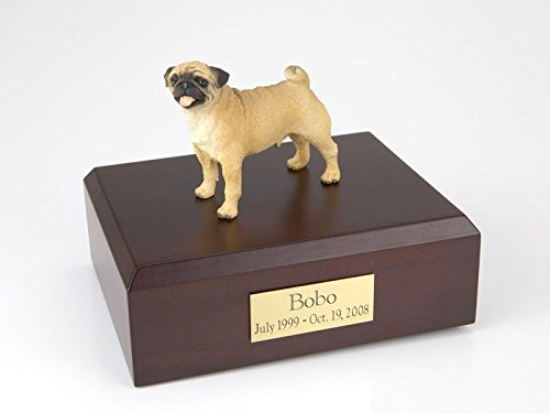 GENUINE North American Hardwood and Pug Figurine Urn Small by Ever My Pet