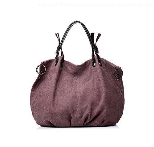 Flowertree Women's Ring Detail Pleated Canvas Hobos Bag Shoulderbag (purple)