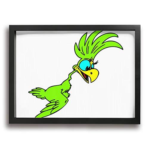 KK5k Parrot Bird 15.7 W X 11.8 L Inch Black Wood Wall Photo Frame -