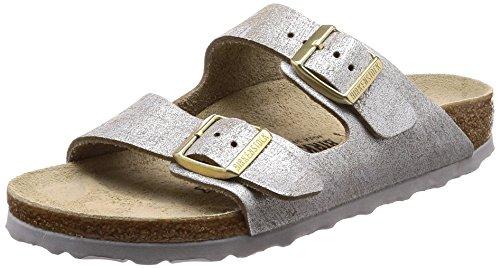 (Birkenstock Women's Arizona Cork Footbed Slide Sandal-Narrow Blu Silver 38 N EU)