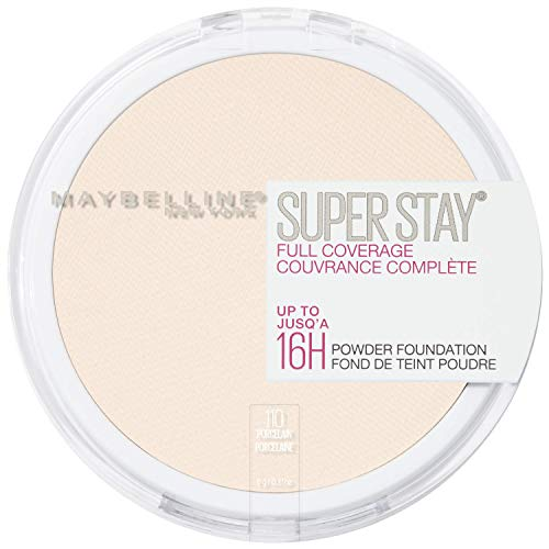 Maybelline New York Super Stay Full Coverage Powder Foundation Makeup Matte Finish, Porcelain, 0.18 Ounce