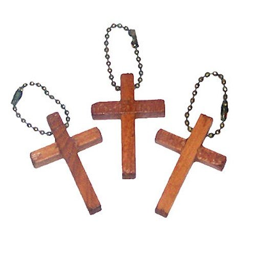 (Wooden Cross Keychains (48)