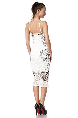Robe Blanc noir Angies Fashion Glamour Femme RxqqzFEIw