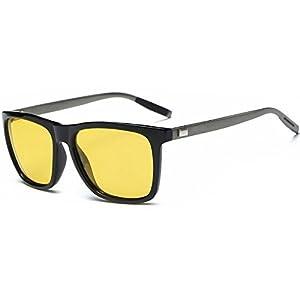 WELUK Mens Night Driving Glasses Wayfarer Style Al-Mg Polarized Yellow Sunglasses 66mm