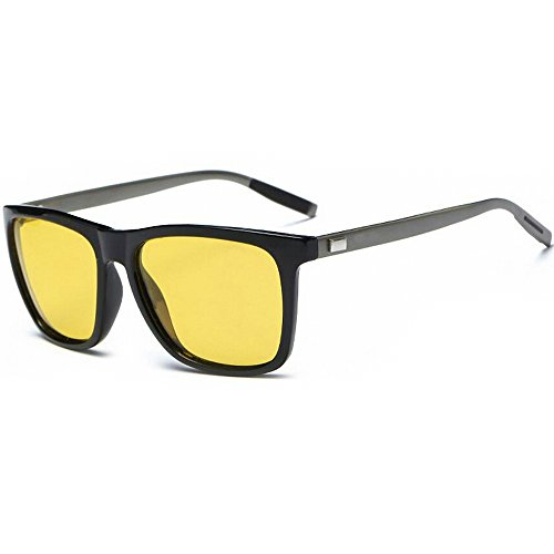 WELUK Mens Night Driving Glasses Wayfarer Style Al-Mg Polarized Yellow Sunglasses - Glasses Best Riding