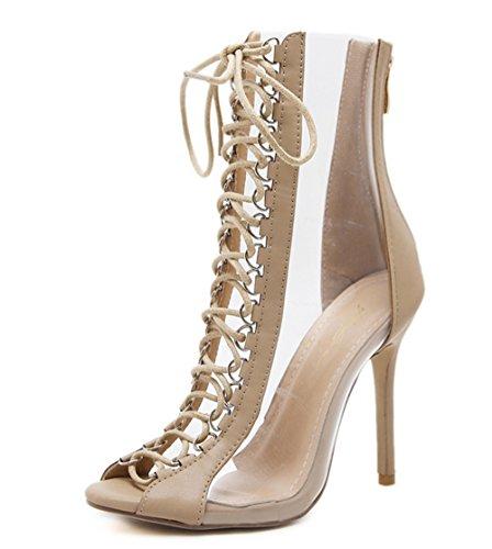 Womens Platform Ankle Strap High Heel-(champagne-39/8 B(M) US Women) Patent Peek A-boo Dress