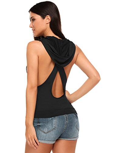 Hotouch Women Slim Fit Tank Top Sleeveless Hooded Vest (Black - Top Hooded