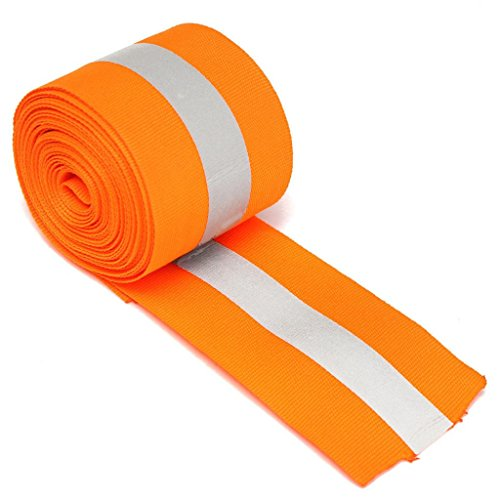 MagiDeal Silver Reflective Tape Safty Strip Sew on Lime Synth Fabric 3 Meters - Orange -