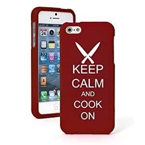 Apple iPhone 5c CH234 Red Rubber Hard Case Snap on 2 Piece Keep Calm and Cook On Chef Knives