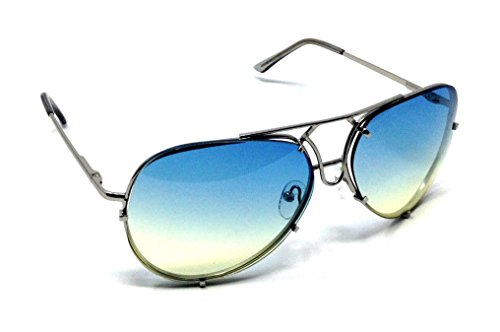 XL Oversized Turbo Floating Lens Aviator Sunglasses (Silver Metallic Frame, Blue Green - Aviator Sunglasses Xl