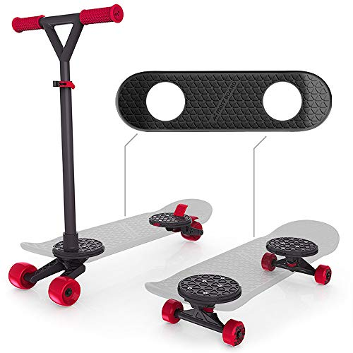 MORFBOARD 41662 Skateboard & Scooter Combo Set, for Boys, Girls, Kids, 2-in-1 Scoot Black Deck/Lava Wheels (With Skateboard Handle)